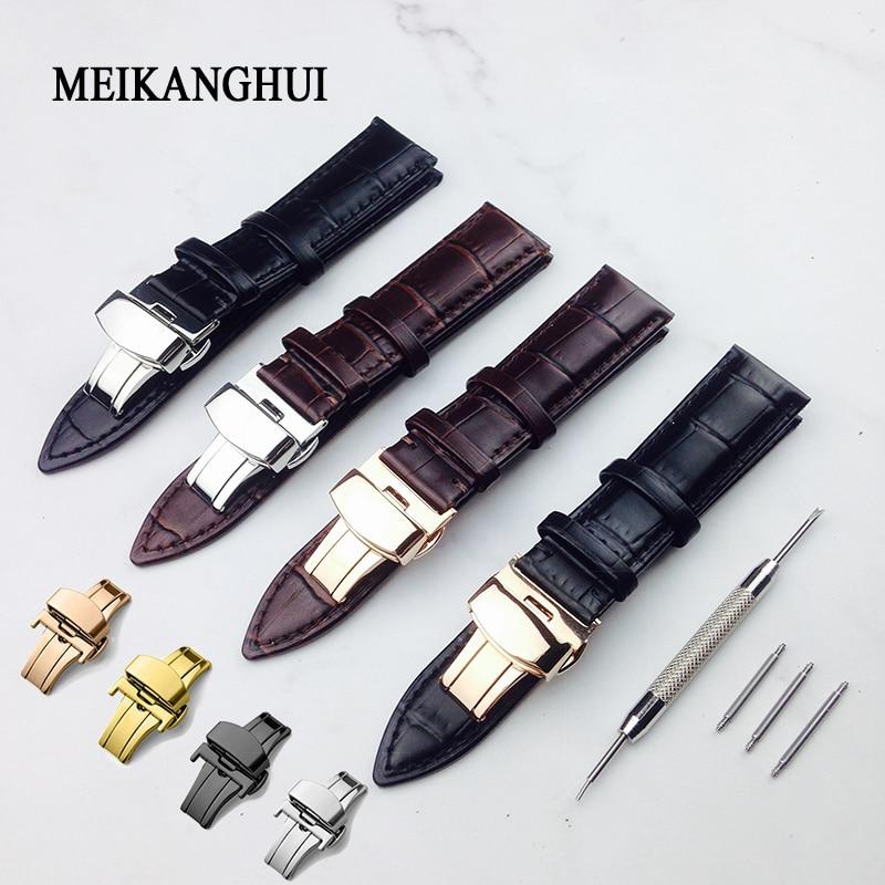 Watchband 12mm18mm 19mm 20mm 21mm 22mm 24mm Soft Calf Genuine Leather Watch Strap Alligator Grain Watch Band For Tissot Seiko