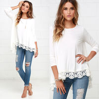 New Fashion Women Lady Clothes Long Sleeve Shirts Casual Lace Floral Blouse Loose Tops Clothing