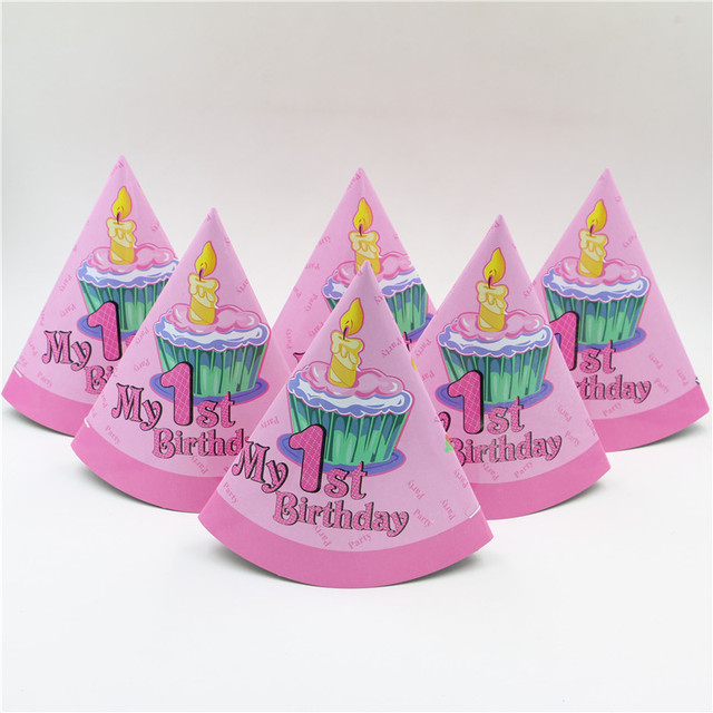 New Pink My 1st Birthday Party Pattern Theme Supplies Kids Girls Hat Cap Decoration Paper Tricon 10pcs Lot