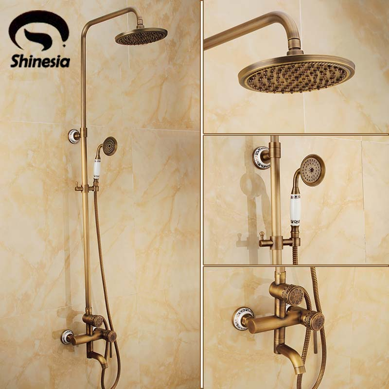 New Bathroom Shower Set Faucet Antique Brass Solid Brass Mixer Tap One Handle 8 Inch Shower Head Ceramic Hand Shower Wall Mount