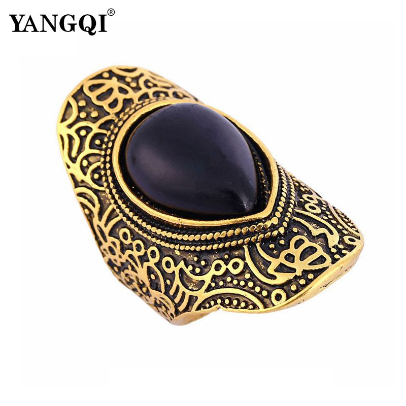 8 Pieces Antique Gold Color Vintage Ring Sets Nature Black Stone Finger Rings for Women Steampunk Turkish Ethnic Jewelry