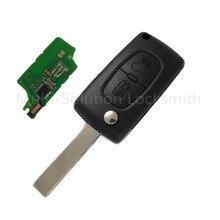 Voltear a distancia Llave Plegable 2 Botones 433 MHz con la viruta ID46 para Peugeot 207 208 307 Coche de Entrada Sin Llave Fob alarma