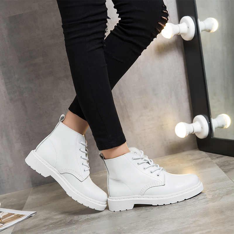 Ingiliz 2018 yeni sonbahar moda bileğe kadar bot kadın ayakkabı bayan için hakiki deri çizmeler beyaz askeri nefes