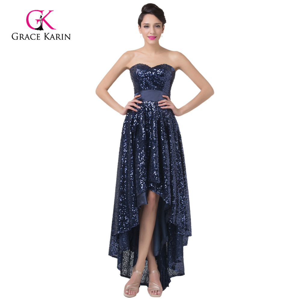 ≧Short front long back Evening Dresses 2018 Grace Karin Navy Blue ...