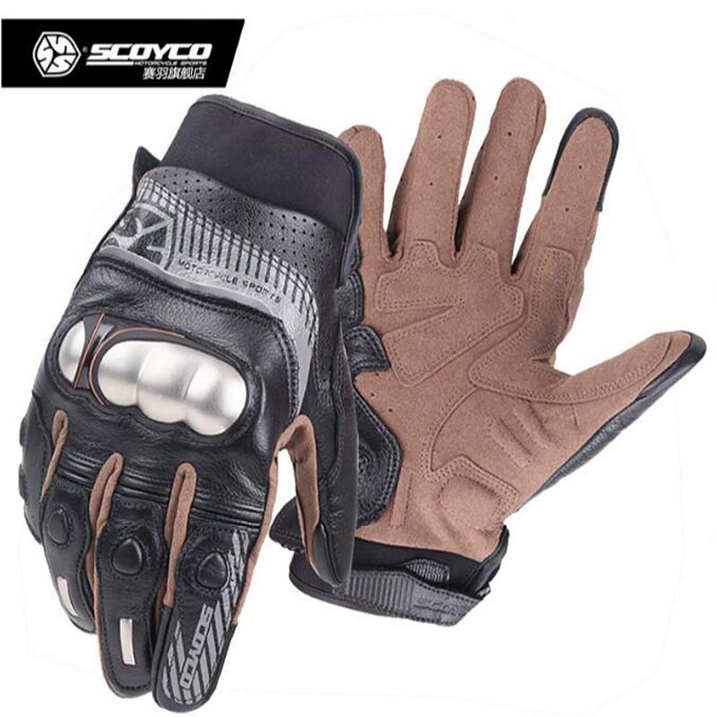 2017 Summer New SCOYCO Off-road motorcycle gloves MC60 leather motorbike glove with stainless steel shell at Night can reflex free shipping new arrival vintage leather tassel urban retro glove motorcycle motorbike gloves touch screen
