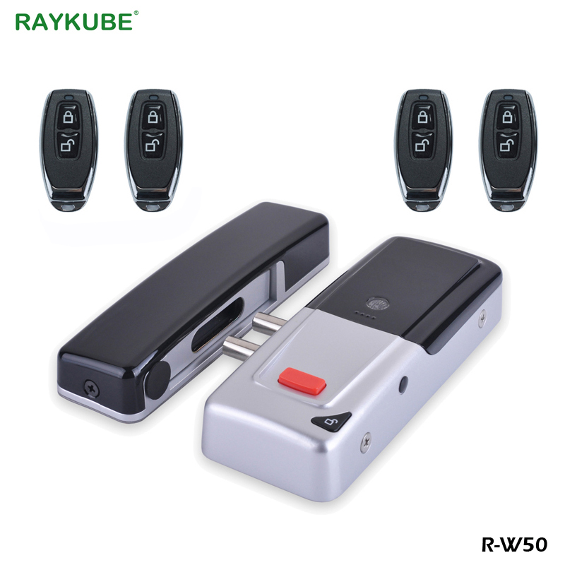RAYKUBE Wireless Electronic Lock Keyless With Remote Control Keys Smart Invisible Remotly Door Lock For Home Anti-theft Security