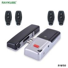 RAYKUBE cerradura electrónica inalámbrica, sin llave, con llaves de Control remoto, cerradura de puerta remota Invisible inteligente para seguridad antirrobo para el hogar