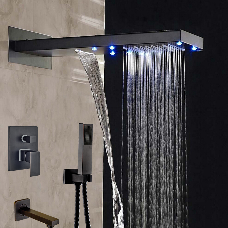 Wholesale And Retail LED Rainfall & Waterfall Oil Rubbed Bronze Shower Head Wall Mounted Shower Faucet Tub Spout W/ Hand Shower modern celling mounted led color changing 8 oil rubbed bronze 3 ways square shower head w hand shower sprayer