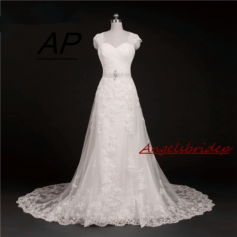 ANGELSBRIDEP Sweetheart A Line Wedding Dress Vestido De Noiva Sexy See Through Back Cap Shoulder Applique