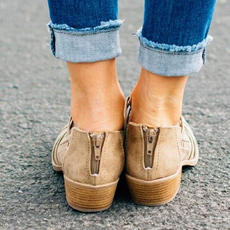 Épais Soirée Talons Éclair Fermeture Platforme Cheville Sabot Mode Black Dames De brown 43 Eu35 2018 Évider Femme Bottes Chaussures Automne pink Femmes qFtvE6fnB