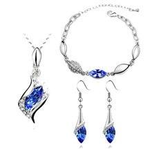 Luxury Austrian Crystal Jewelry Set Silver Gold Chain Horse Eye Pendant Necklace Bracelet Earrings Wedding Jewelry Sets Women