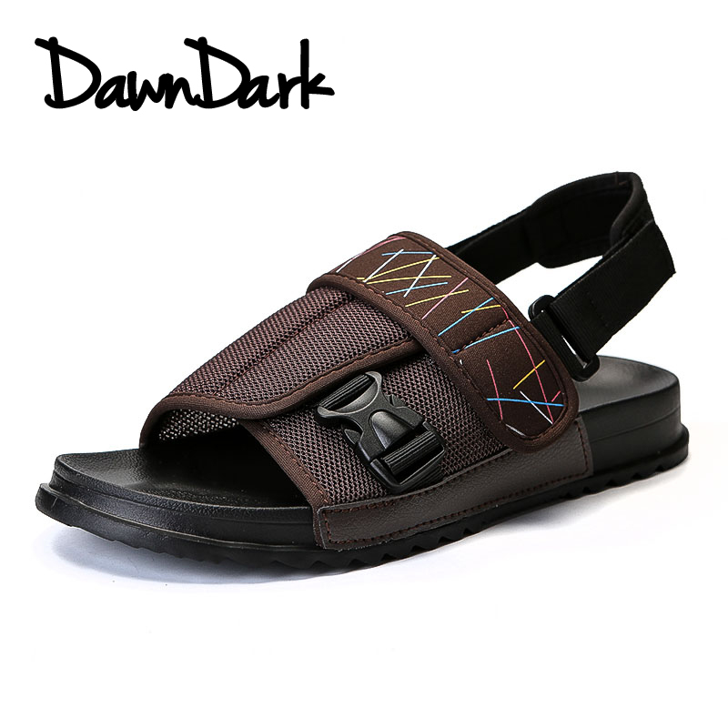 2018 New Style Summer Mens Sandals Mesh Breathable Male Beach Classics Flat Sneakers Slip on Outdoor Sandals Man Footwear