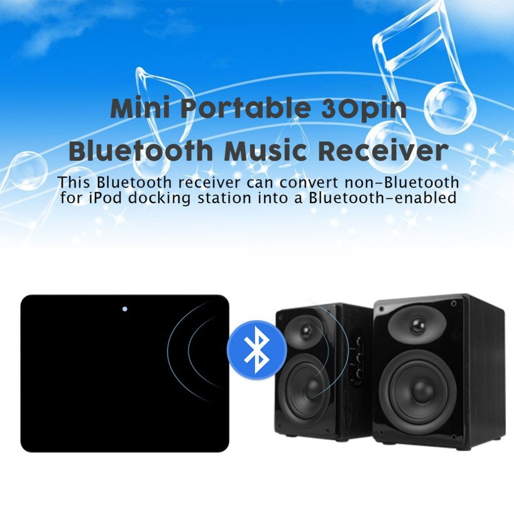 Tragbares Audio & Video Mini Tragbare 30pin Bluetooth Musik Empfänger Für Ipod Stereo Musik Sounddock Audio Musik Receiver Adapter Plug & Play