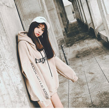 Womens Sweatshirts Hooded Pullovers Plus Velvet Loose Head Print Large Size Solid Color Slim Hoodies Women Casual Pullover New(China)