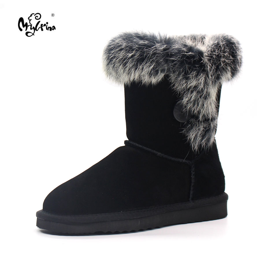 MYLRINA Brand Winter Shoes For Women Natural Rabbit Fur Snow Boots Ladies 100 Genuine Cowhide Leather