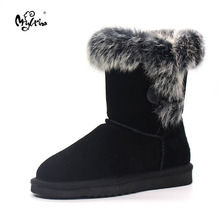 MYLRINA Brand Winter Shoes For Women Natural Rabbit Fur Snow Boots Ladies 100% Genuine Cowhide Leather Snow Boots Winter Boots