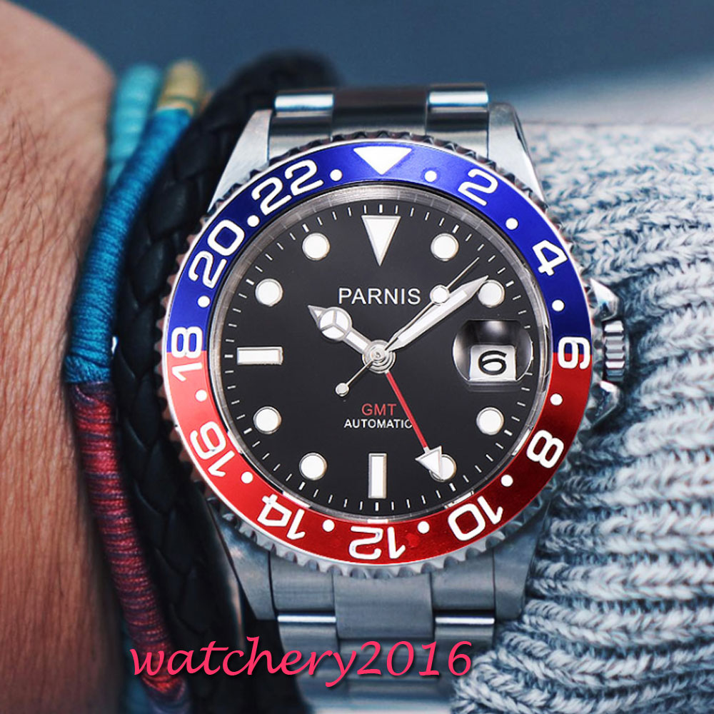 Relojes mecánicos Parnis 40mm negro rojo bisel GMT buzo reloj completo Acero inoxidable zafiro movimiento automático hombre reloj-in Relojes mecánicos from Relojes de pulsera    3
