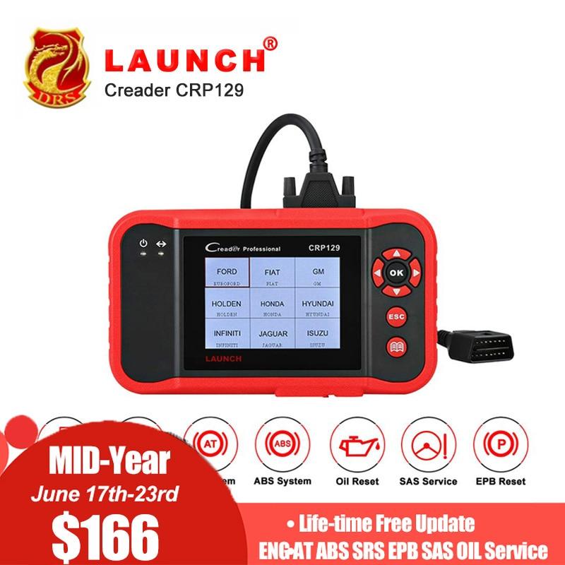 Lançamento CRP 129 Creader VIII CRP129 8 Leitor de Código de Ferramenta de Diagnóstico OBDII ENG EM ABS SRS EPB SAS Serviço ÓLEO redefine luz do Scanner