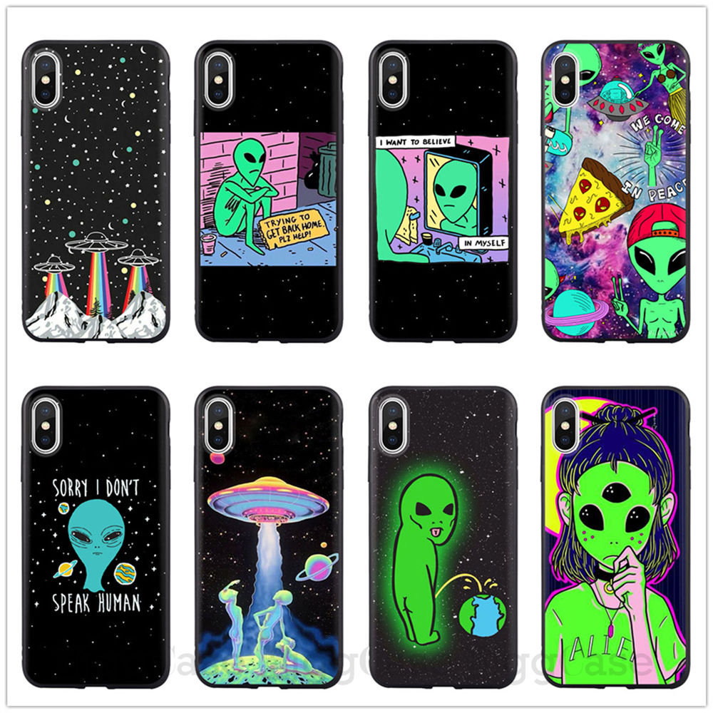 Aesthetics Cute Cartoon Alien Space Soft Silicone Phone Case Cover Shell For Iphone 11 12 Pro Xs Max X Xr 5 5s Se 6 6s 7 8 Plus Phone Case Covers Aliexpress