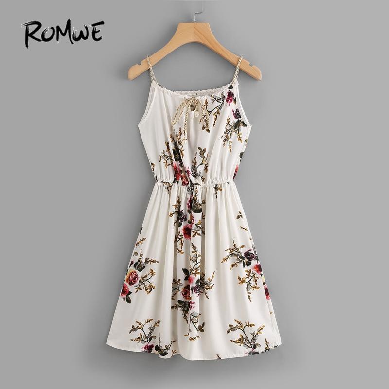 ROMWE الشيفون الصيف الشاطئ اللباس الأزهار طباعة عشوائية الذاتي التعادل كامي اللباس السباغيتي حزام طول الركبة ألف خط اللباس
