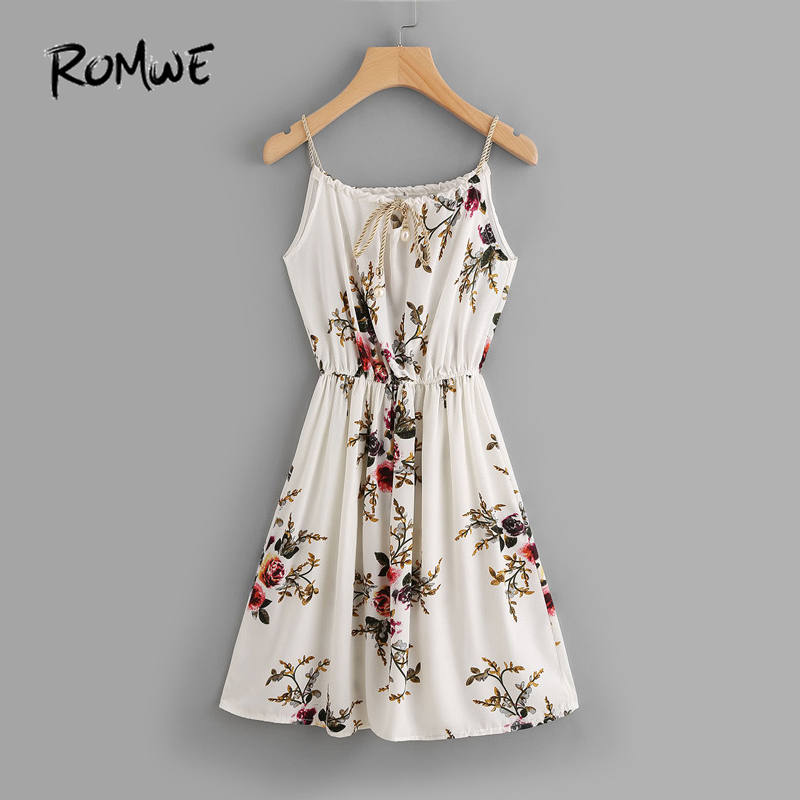 RomWE שיפון קיץ חוף השמלה פרחוני הדפס - בגדי נשים