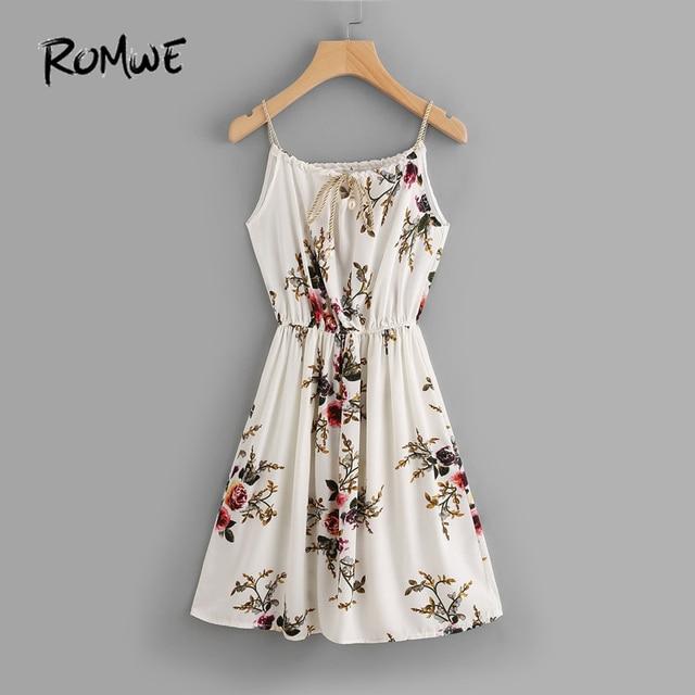32640e4a452 ROMWE Chiffon Summer Beach Dress Floral Print Random Self Tie Cami Dress  Spaghetti Strap Knee Length