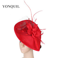 Ladies Veils red fascinators for kentucky derby hats with bridal floral headwear on hair clips event cocktail headdress SYF258