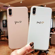 Brown Grey Love Heart Silicone Couples Phone Case For iPhone 6 6s 6Plus 7 7Plus 8 8Plus X XS Max Xr Soft Coque TPU Back Cover стоимость