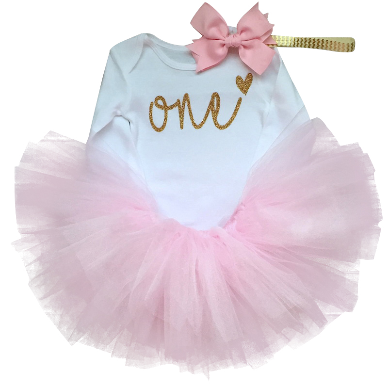 96b9691a2d136 Hot Sale] 1 Year Baby Girl Birthday Dress Kids Baby Clothes Gold Bow ...