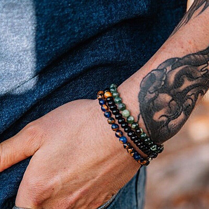Mcllroy grânulos de pedra natural pulseira homem hematite frisado pulseiras pedra charme masculino valentine jóias blackfriday