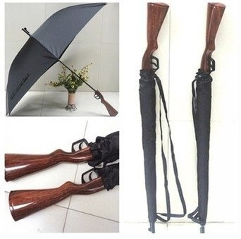 Rifle wooden handle gun umbrella 100 sunscreen UPF gt 40 parasol straight windproof 3 5mm fiberglass long ribs in Umbrellas from Home amp Garden