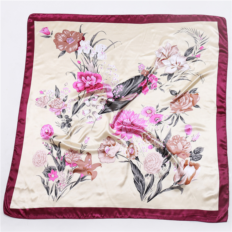 2019 New Silk Square Scarf Women Floral Print Satin Scarves for Ladies Foulard Bandana Scarfs Female Neckerchief in Women 39 s Scarves from Apparel Accessories