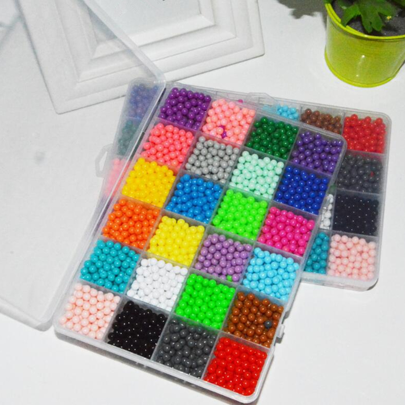 24 Colors Magic Beads Aqua Beads Puzzles Hama Beads Perler Beads Aquabeads Perlen 3d Puzzle Kids Toys Birthday Gift brinquedos