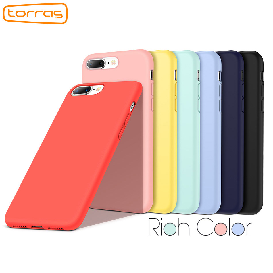 Torras Luxury Original Liquid Silicone Case for iPhone 8 8 Plus 7 7 plus X Phone Cases for Apple Microfiber Phone Cover Coque