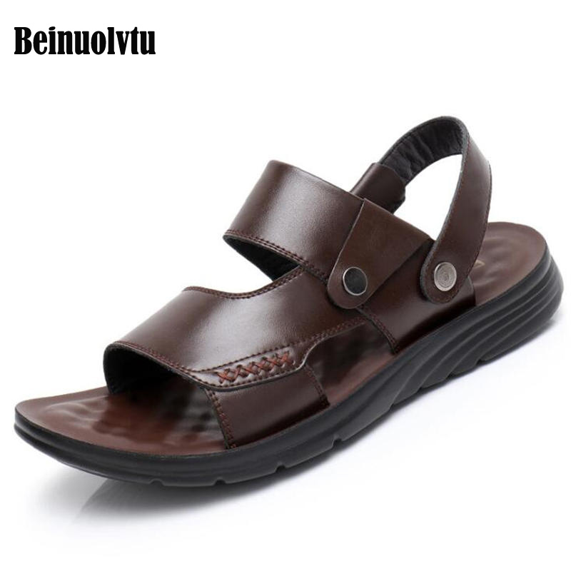2018 New Style Genuine Leather Sandals for men Flats Sneakers Outdoor Sandal shoes Summer Male Flat Sandals