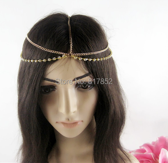 FASHION STYLE MAKER Women New HE011 Chains Gold Rhinestone Chains Head Chains Jewelry 2 Colors