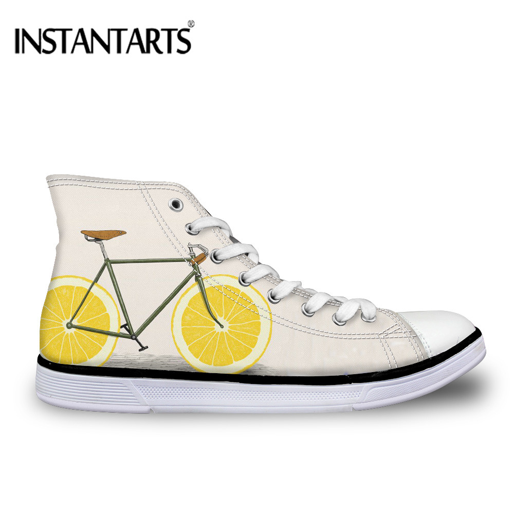 INSTANTARTS Cool Bike Prints Brand Vulcanized High Top Men Shoes Flats Sneakers Lace Up Classic Fashion Casual Male Shoes Autumn image