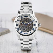Top Brand GANADOR Deporte Elegante Steampunk Esqueleto Auto-viento de Acero Inoxidable Mecánica Esfera Azul Relojes Para Hombres Mujeres Relojes