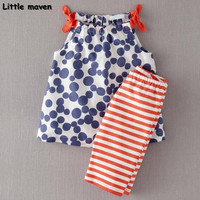 Little maven brand children clothing 2017 new summer baby girls clothes cotton pants+tank tops dot print children's sets 20125