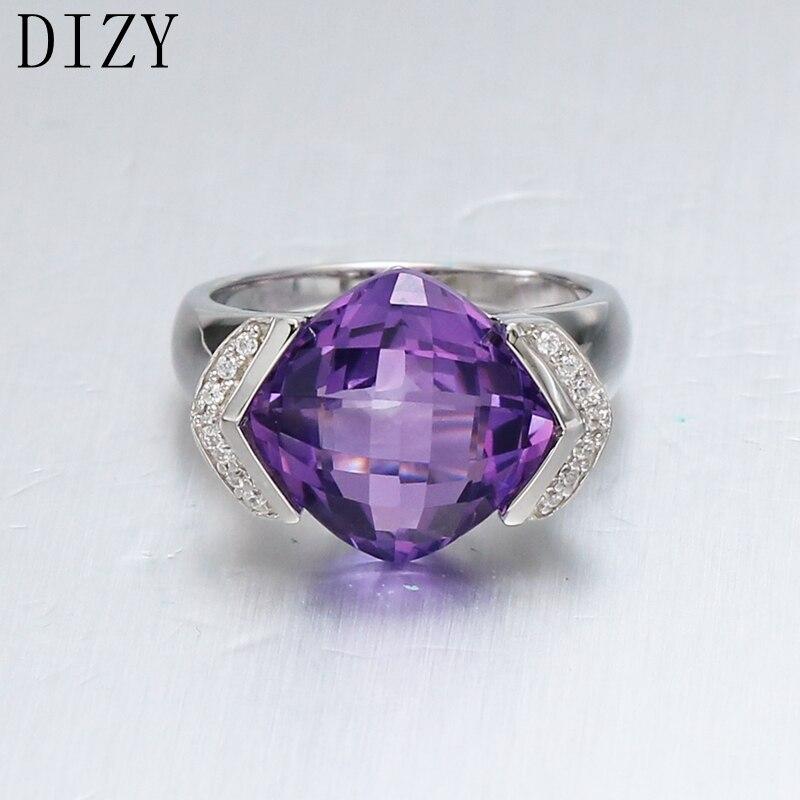 DIZY coussin 7.5CT naturel damier coupe améthyste anneau 925 bague en argent Sterling pour les femmes cadeau bague de mariage bijoux de fiançailles