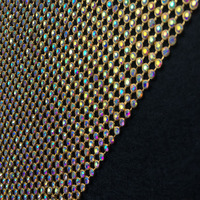 Chunky Glitter AB Rhinestones GOLD Metal Mesh Fabric Metallic Cloth Metal Sequin Sequined Fabric Home Decoration