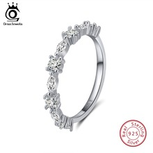 ORSA JEWELS Genuine 925 Sterling Silver Rings For Women AAA Cubic Zircon Clear Crystal Wedding Band Anniversary Jewelry OSR64