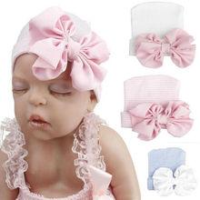 цена Cute Baby Newborn Infant Kids Girl Toddler Comfy Bowknot Hospital Cap Lovely Babies Kids Warm Beanie Hat Turban UK онлайн в 2017 году