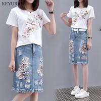 M 4XL Women Plus Size Summer Denim Skirt Suit New 3D Flowers Luxury Tshirt & Tassel Hole Jean Skirt Casual 2 piece Sets L3569