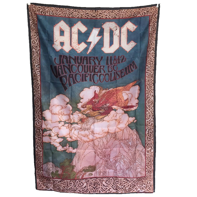 AC DC Rock Band Hanging Flags And Banners Posters Home Decor Living Room For Bar