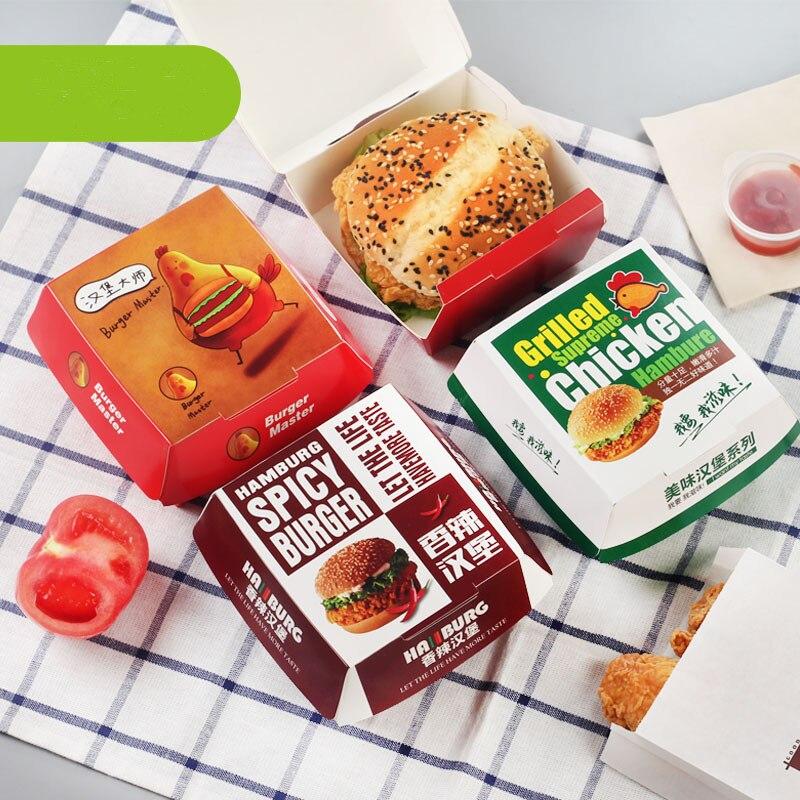50pcs Brown Paper Burger Box Free Package Box Baked Goods Box,Hamburger Box