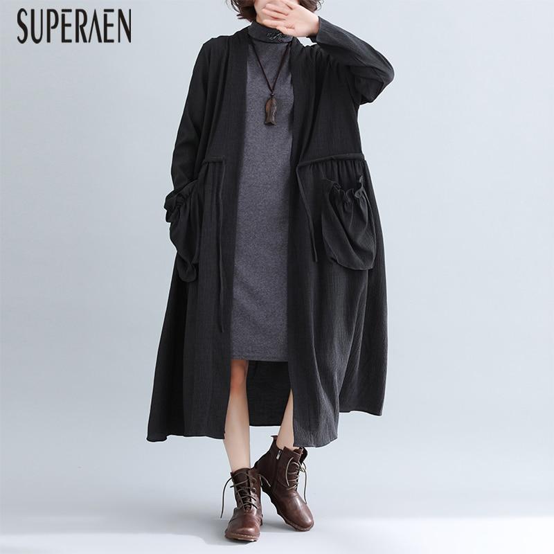 SuperAen 2019 Spring New   Trench   Coat for Women Pluz Size Cotton Wild Windbreaker Female Long-sleeved Women Clothing