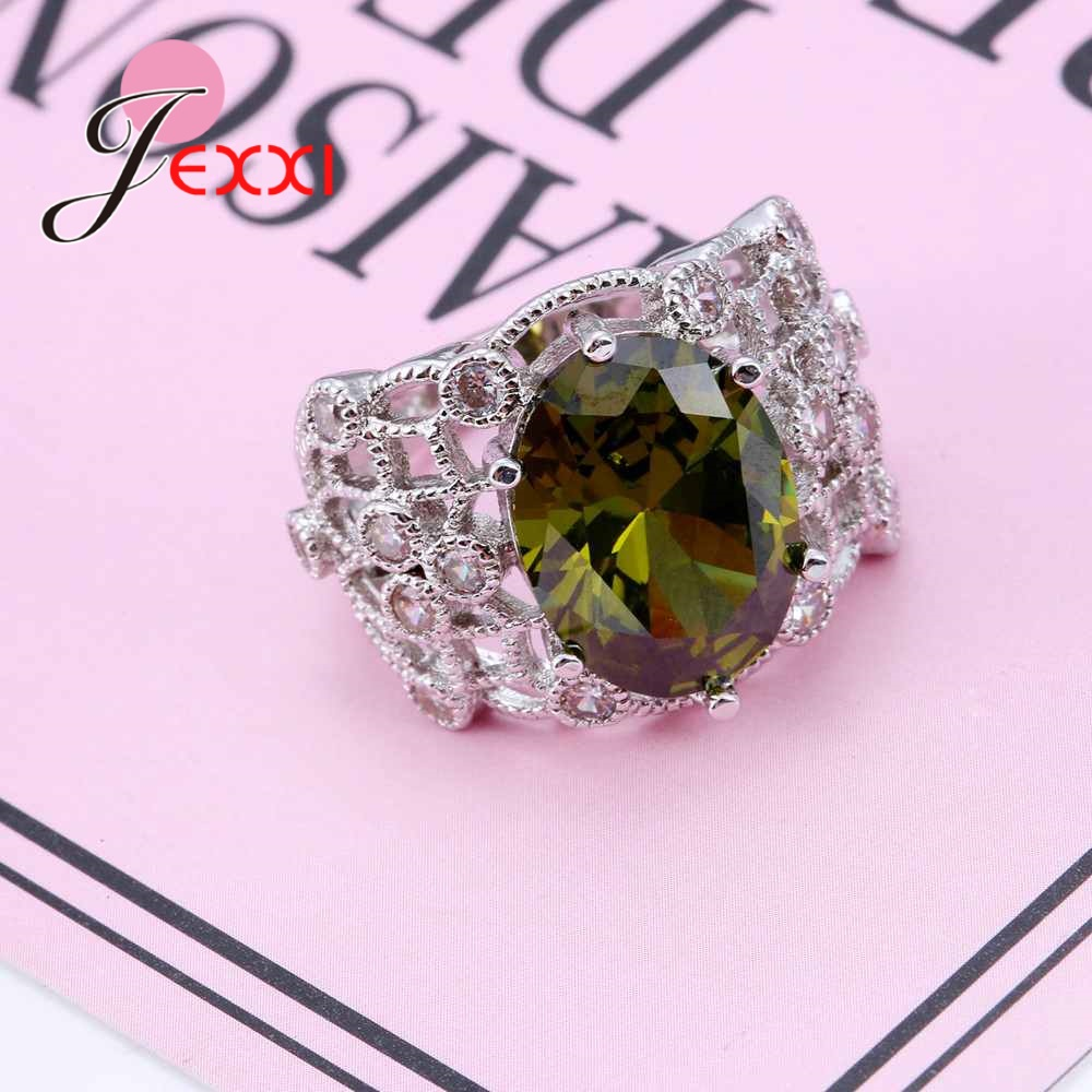 JEXXI 925 Sterling Silver Big Green Stone Ring Luxurious Crystal ...