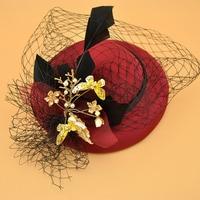 Fascinators Hat Women Flower Mesh Ribbons red Top Hat Fedoras elegant wedding hats Headband Clip Tea Party Headwewar for Girls