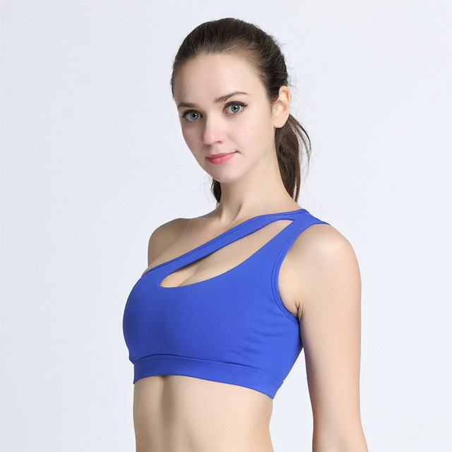 173b447eb4 2018 New Alone Shoulder Strappy Bra Cropped Women Bra Built-in Pad Sporting  For Push